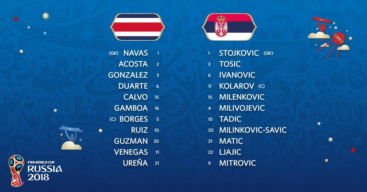 Escalações de Costa Rica e Sérvia, são 4 representantes da PL pelo lado sérvio:  Matic (Manchester United) Milivojevic (Crystal Palace) Tadic (Southampton) Mitrovic (Newcastle, jogando parte da última temporada emprestado ao Fulham)