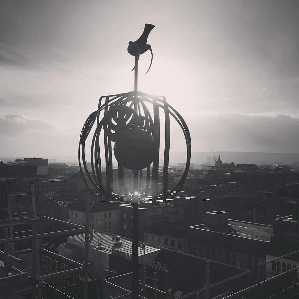 The finial on top of the Mackintosh Building of the Glasgow School of Art, still surviving after Friday' -