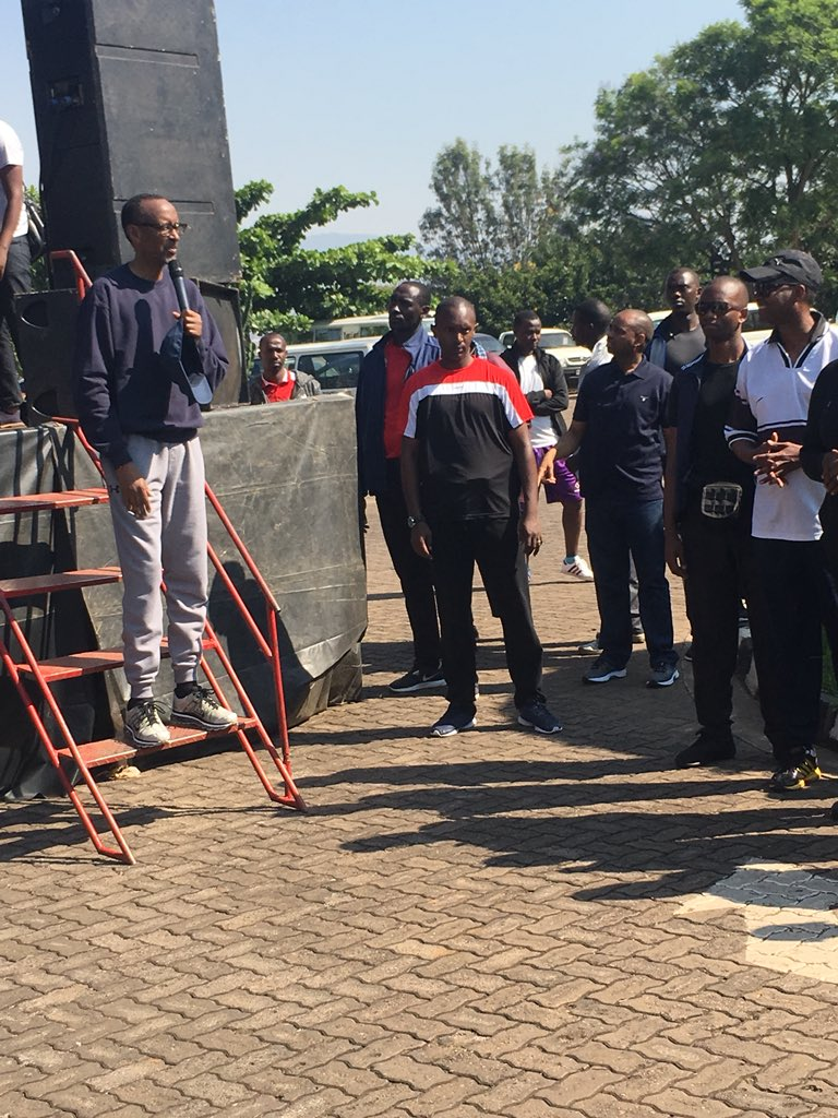"""""""President Kagame: I can see some young people as well as some elders here. Thank you for participating in today&#39;s physical exercises. A healthy body leads to a healthy mind.""""  #CarFreeDay #Rwanda<br>http://pic.twitter.com/l2RMS2czIx"""