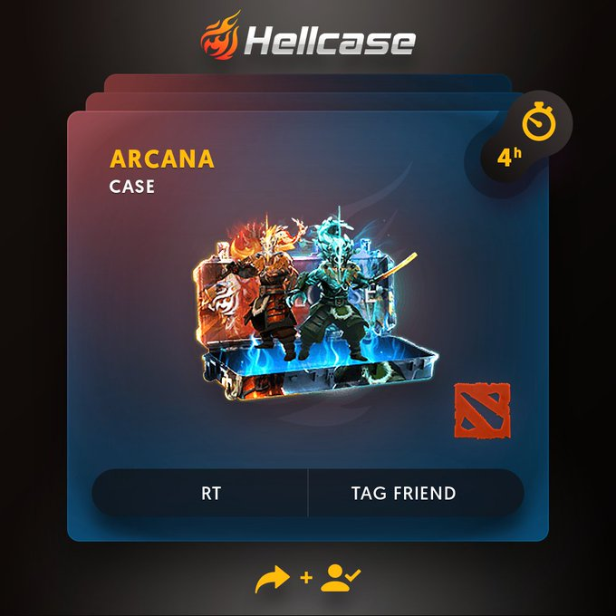😈Hellcase DOTA 2 Giveaway! 🔻Click 🔻Follow us + RT 🔻Tag your friend 💰The prize is Arcana Case! ⏳A winner in 4h! #dota2 #dota Photo