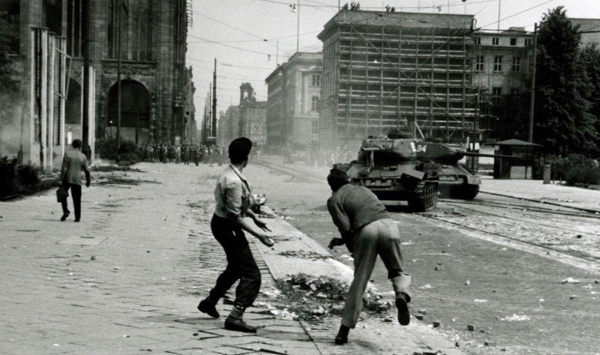 Today in 1953. Soviet tanks suppress a rebellion in their occupation zone of Germany.
