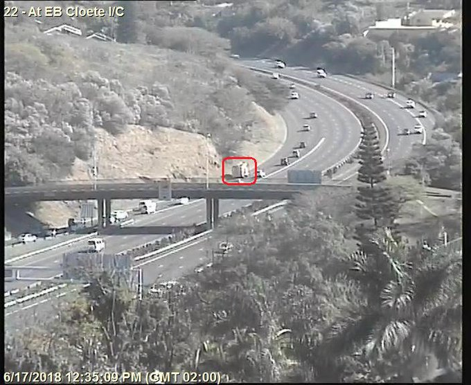 Vehicle on fire; N3 to PMB after EB Cloete I/C; Left lane closed; Drive carefully. Photo