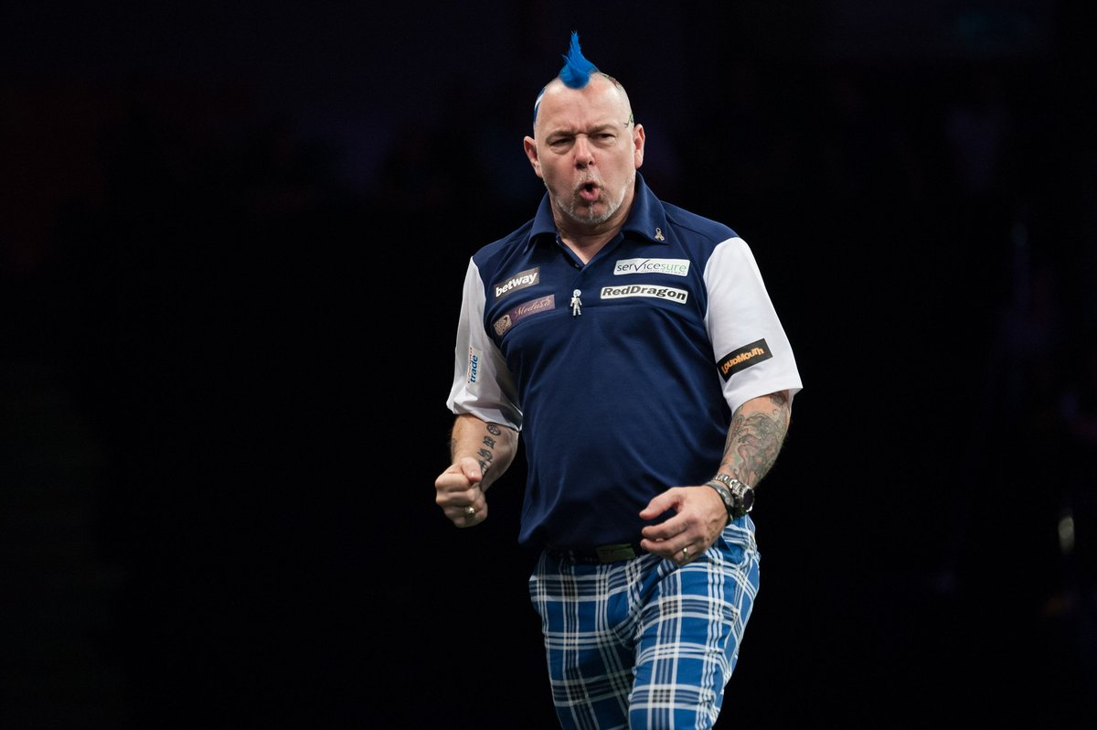 THROUGH | Peter Wright reaches the semi-finals of #PC14 Peter Wright 6-4 Dimitri Van den Bergh 📺Watch live in PDCTV-HD ▶️ Results & streaming info: pdc.tv/node/7696