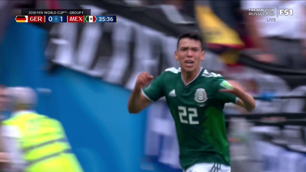 The youngster puts it away!  Chicharito starts the counterattack and Chucky Lozano finishes it to give Mexico the 1-0 lead.