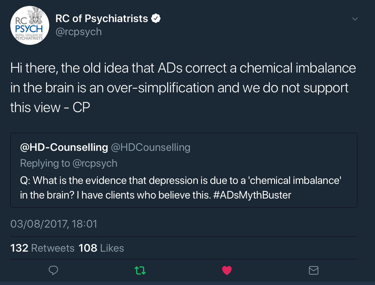 #PsychLiveQandA as seen below, @rcpsych have publicly stated that #antidepressants don't fix a neurotransmitter imbalance, yet patients are still being told about the chemical imbalance. I'm sure that many of the millions taking the drugs would like to know how they really work.