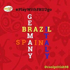@_FRU2GO Across✔ 1 👉 BRAZIL 2 👉 SPAIN Down✔ 3 👉 GERMANY 4 👉 ITALY #PlayWithFRU2go #FRU2go Photo