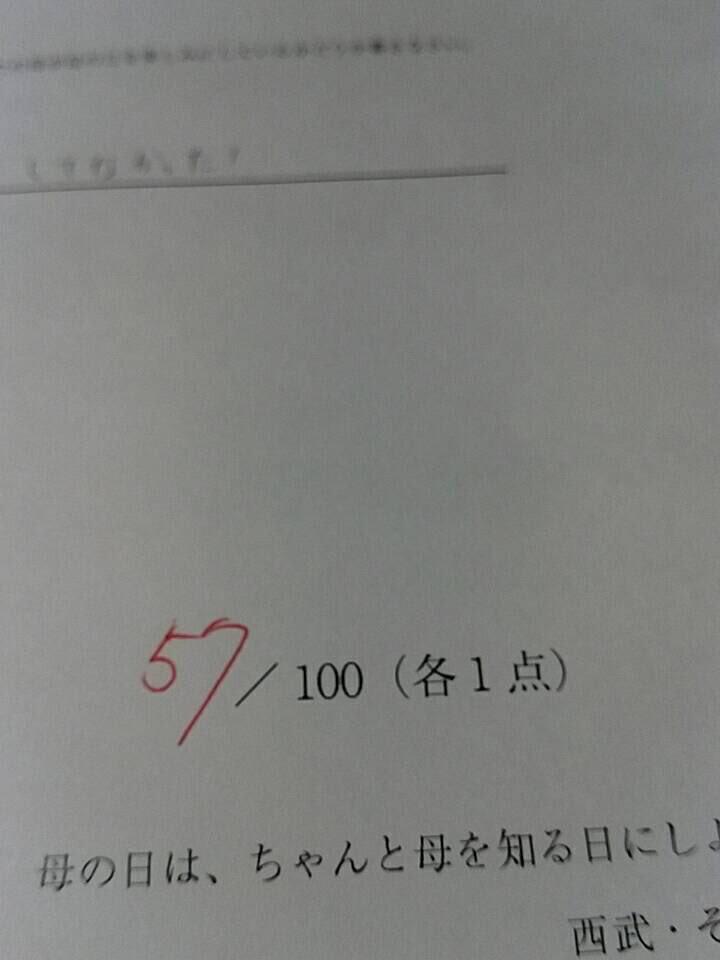 全国一斉母の日テスト 57点やったまあまあだってなんか、くすぐったいね pic.twitter.com/wZdjR4sz4E