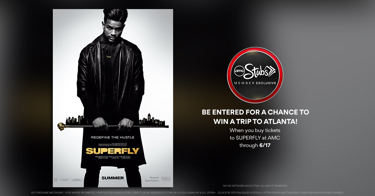 Last chance! AMC Stubs Members - buy #Superfly tickets today, and youll be entered for a chance to win a trip for two to a rap festival in Atlanta! Learn more & get tix now: amc.film/2LzC2I2