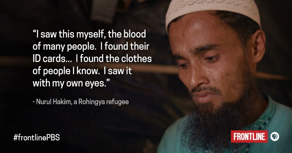 With secret footage filmed by citizen activists, and firsthand accounts from victims and their families, 'Myanmar's Killing Fields' depicts an orchestrated campaign to target Rohingya civilians. WATCH: https://t.co/Ko0kfBpkKN
