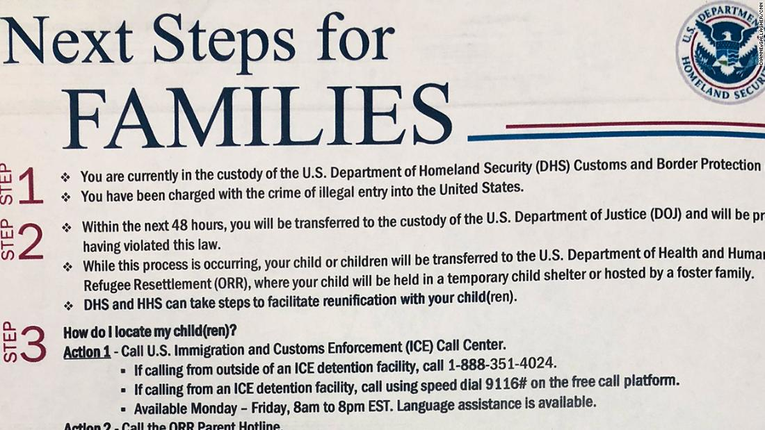 This is the handout immigrant parents get before they're separated from their children https://t.co/oEwvz3Jya8