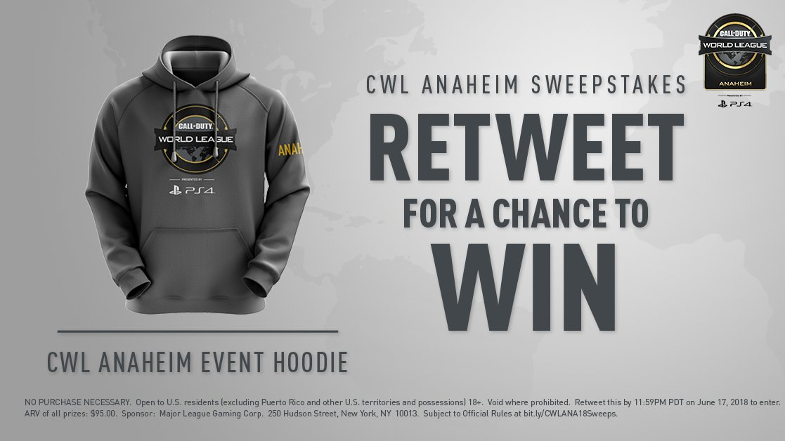 #CWLPS4 Anaheim Sweepstakes: Retweet for a chance to win a CWL Anaheim event hoodie!  Must RT by 11:59PM PT June 17. Rules: https://t.co/kqxFk4aD5Z