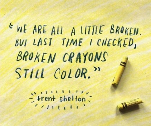 We&#39;re all a little broken or bent but we all still can bring color into this world. #BrokenCrayonsStillColor #WednesdayWisdom <br>http://pic.twitter.com/7k1DXKPyMq