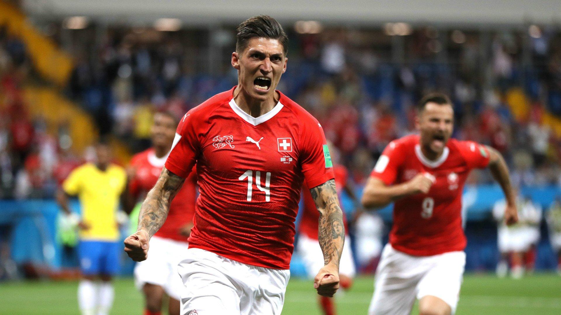 هدف سويسرا الأول في شباك البرازيل