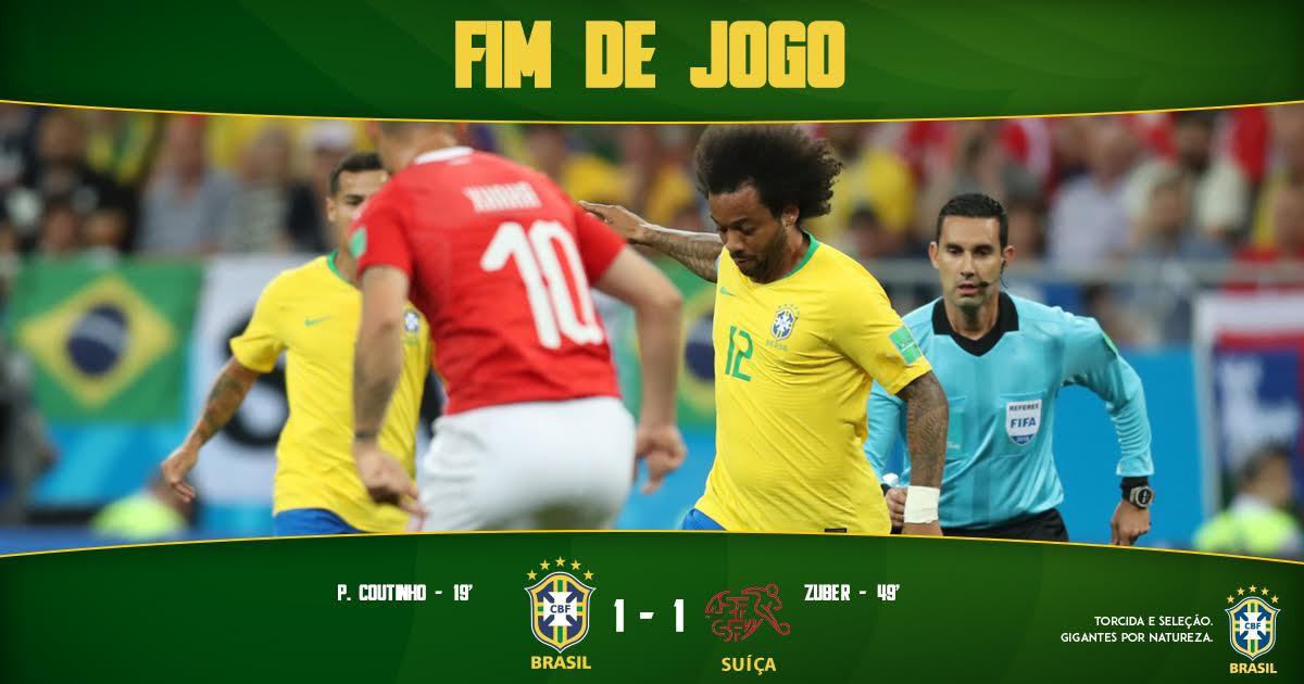 FIM DE PARTIDA! A #SeleçãoBrasileira estreia na Copa com empate em 1 a 1 com a Suíça, gol de @Phil_Coutinho #WorldCup  🇧🇷 1-1 🇨🇭 | #BRAxSUI
