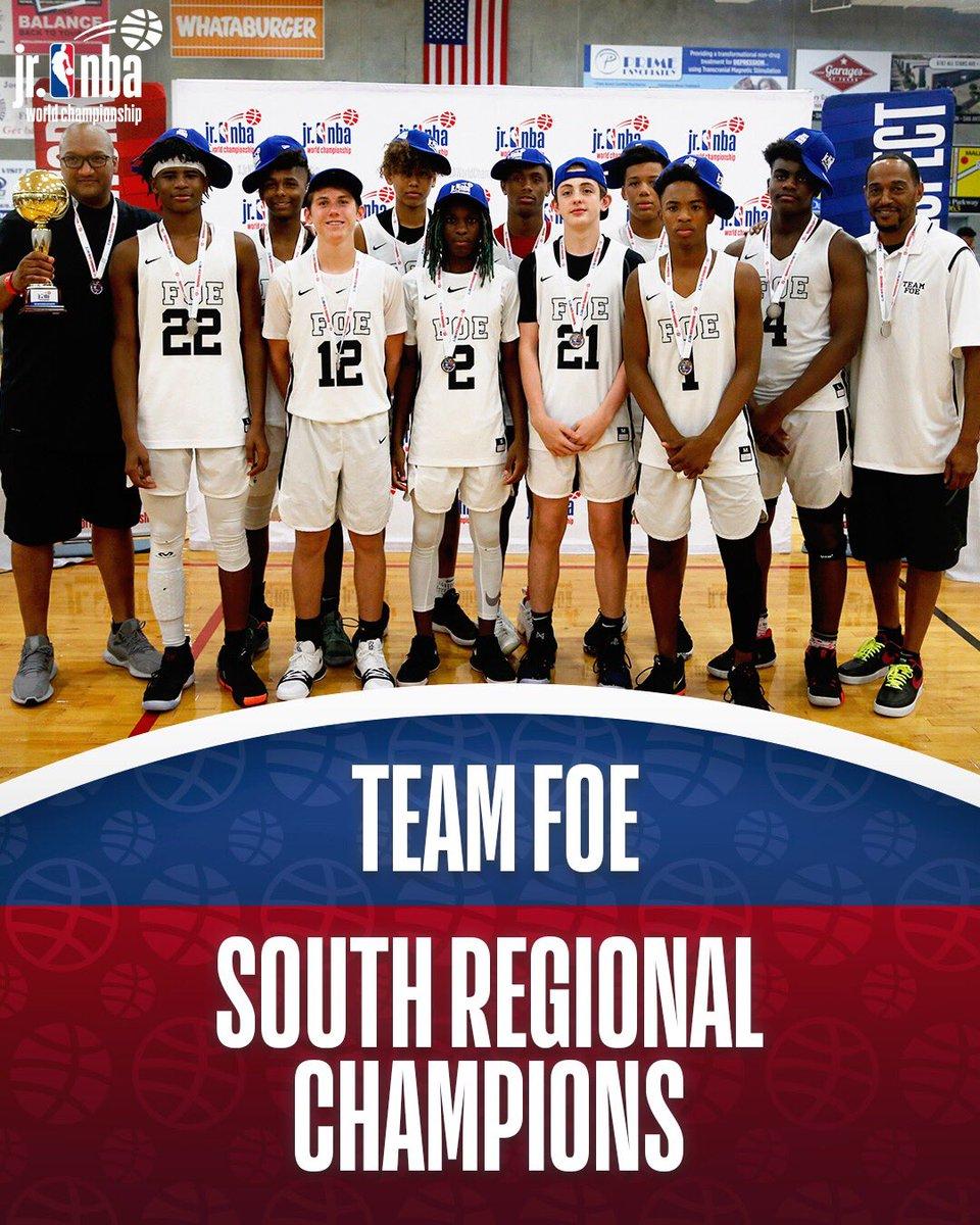 Boys champs of the South Regional... Team FOE! #JrNBAWorldChampionship 🏆