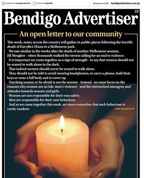 Today's @BgoAddy front page - editor @nicoleferrie writes that as we prepare for vigils in Bendigo, Castlemaine and across the country following the death of Eurydice Dixon, we must do more as a community to prevent violence against women and children. https://t.co/yhUNsPOZSw