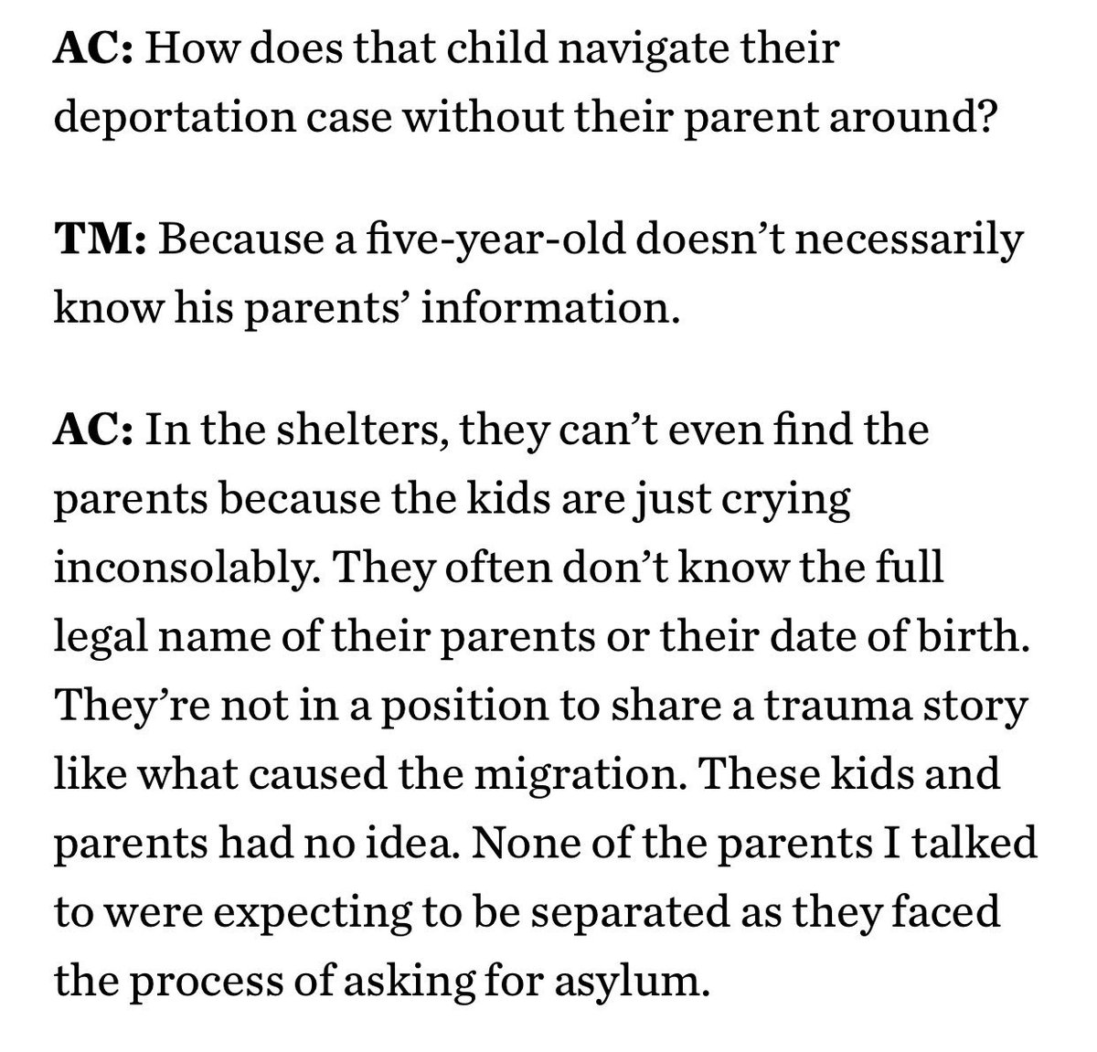 One more: what happens when parents are deported WITHOUT their children, and then it's the children's turn?