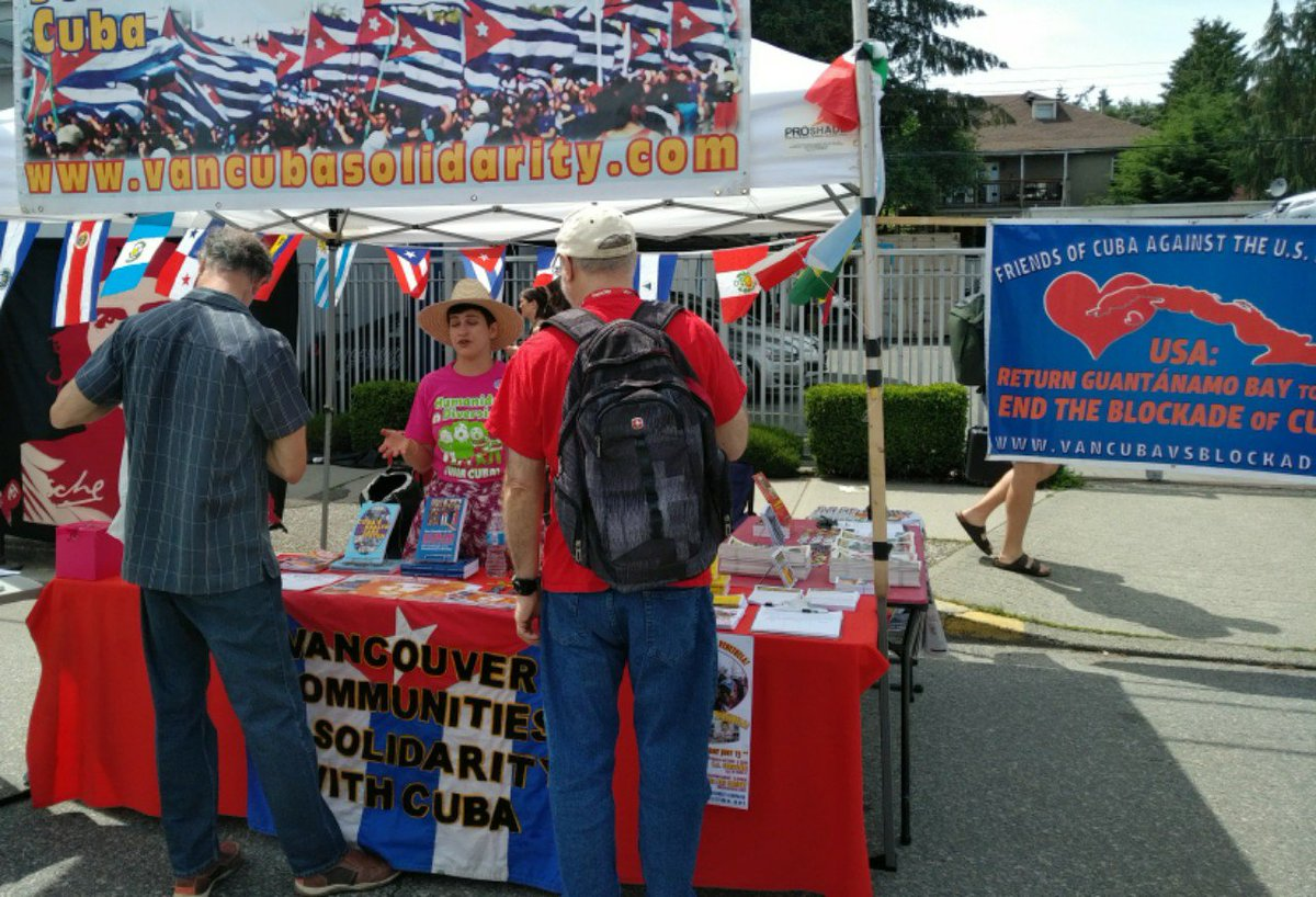 We are at #carfreeday #YVR #Vancouver on Main St. Between 29th &amp; 30th! Look for the #Cuban flags! We have petitions, books, leaflets, and colouring! #Sustainability #VivaCuba #CubaVSBloqueo #Vanpoli #BCpoli #Cdnpoli @JosefinaVidalF @cdnntwrkoncuba @mariemml391<br>http://pic.twitter.com/nHawBWh77z
