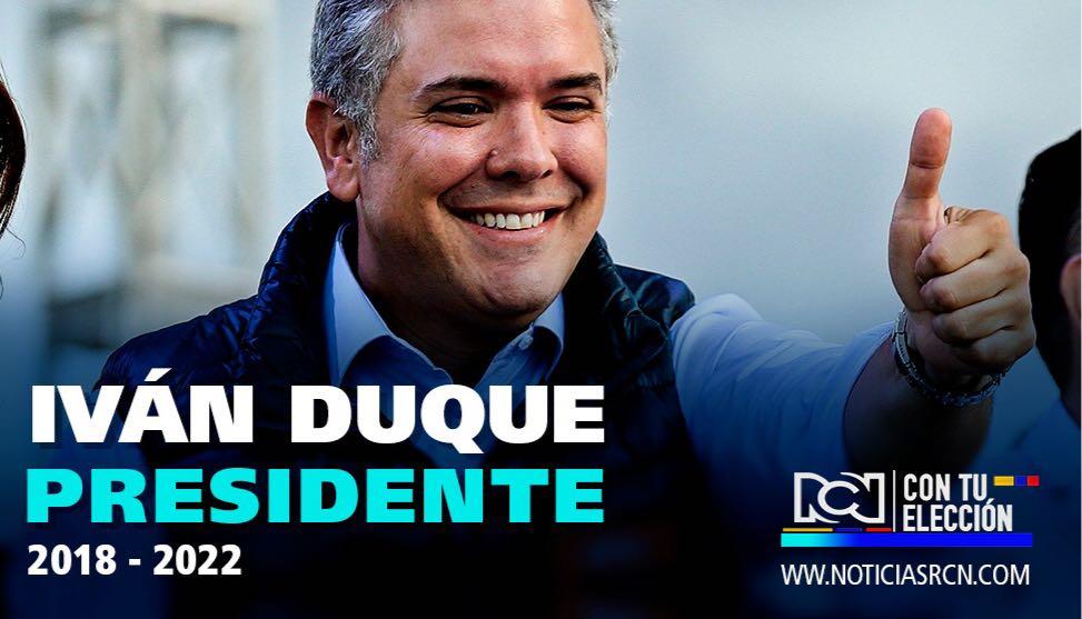 #ATENCIÓN | Iván Duque (@IvanDuque) es el nuevo presidente de Colombia https://t.co/GEkZka77Gt  #ColombiaElige 🗳 #RCNconTuElección 🇨🇴