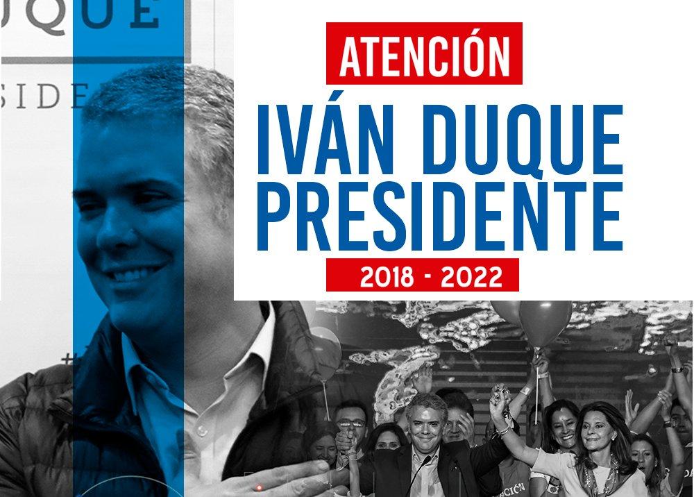 #ATENCIÓN Iván Duque Márquez, nuevo presidente de Colombia https://t.co/bRoTvG8tAt #ColombiaDecide https://t.co/drwZgS3rPs