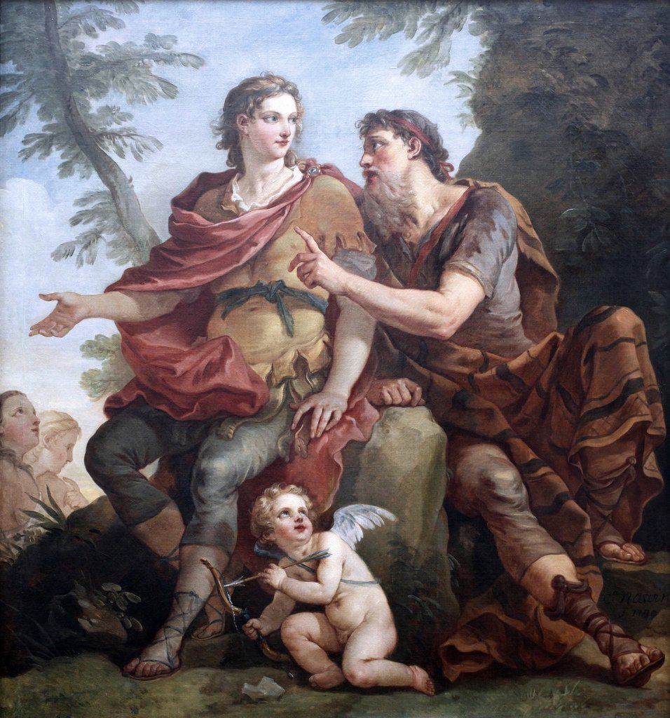 One of my favorite lines by Homer is about fatherhood: Athena [as Mentor] to Telemachus: Few sons are the equals of their fathers; most fall short, all too few surpass them. -Homer, Odyssey Book II Joseph Natoire (1700-1777)-Telemachus listening to Mentor.