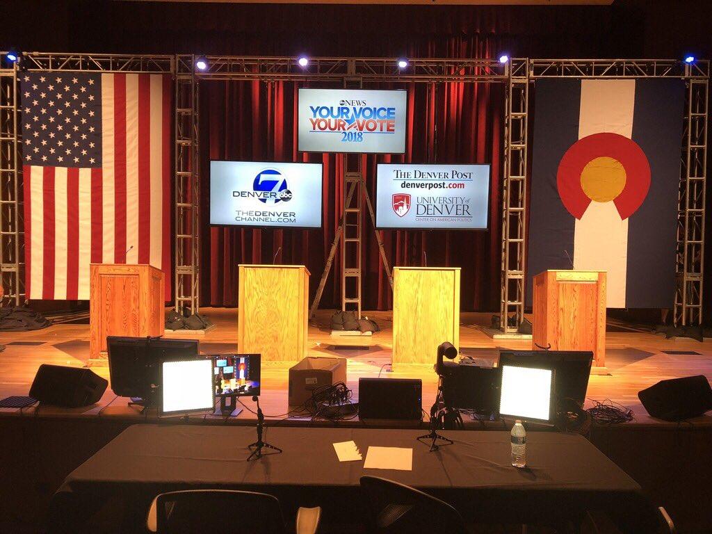 The stage is set for the #Denver7 #gubernatorial #debate #Colorado #copolitics @DenverChannel