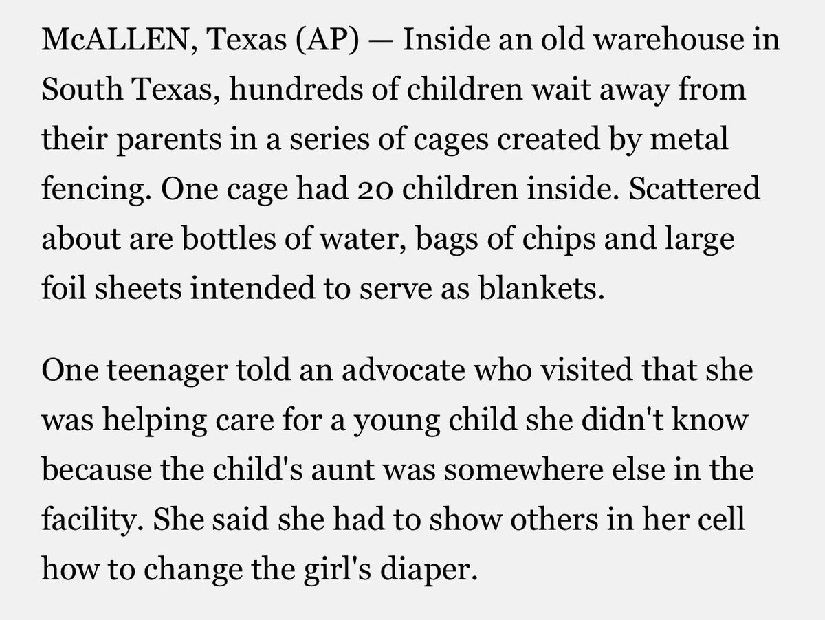 AP describes what it's like inside one of the cages detaining migrant children at the Texas border https://t.co/gPMChwdl9T