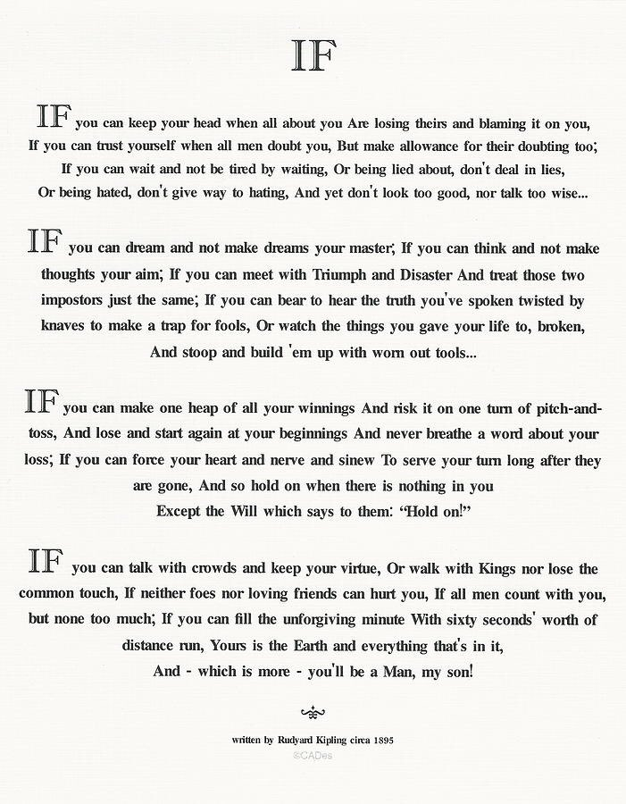 20 years ago, my dad put a framed copy of his favorite Rudyard Kipling poem in my room. As I got older, I began to understand why he did it when I encountered things that tested my character. Father's Day reminds me that I am who I am because of this wonderful man who raised me.
