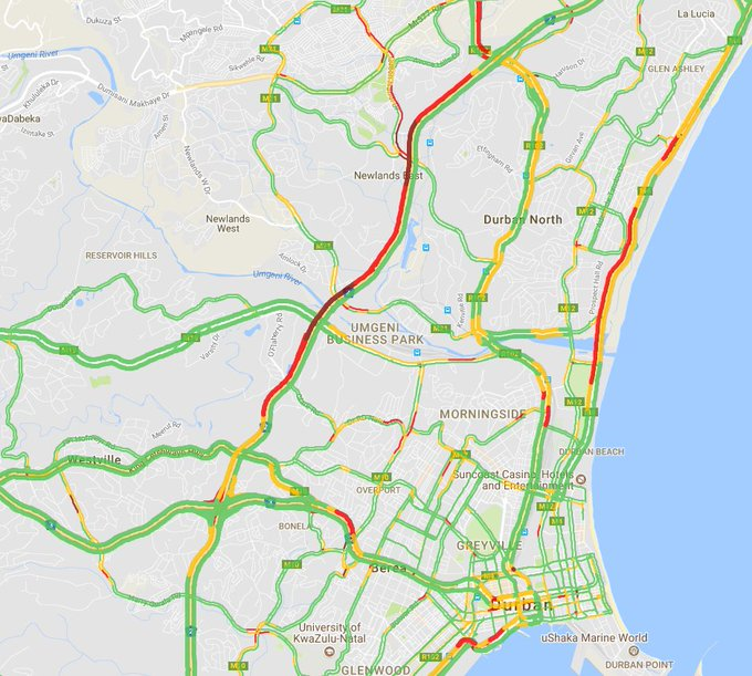 #KZNTraffic Severe delays of 22 minutes and delays increasing on N2 northbound between EB Cloete I/C and R102 Chris Hani Rd. Average speed 25 kph. Photo