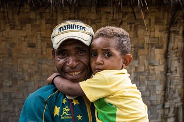 In the 1st 3 years of life, a childs brain is twice as active as yours. With every hug, kiss and love, you share the care to protect your child's growing brain, just like what Mendi dad, Wari Yaka is doing with his 3-year-old son Benson.