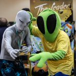 Image for the Tweet beginning: In Pasadena, alien fans explore