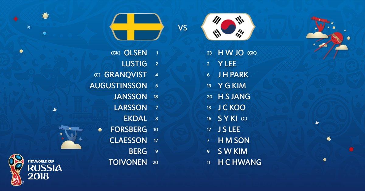 #SWE - #KOR   ¡Tenemos los XI iniciales! 👇