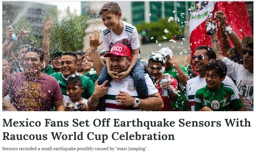 In #Messico lesultanza di oltre 100 milioni di persone al gol di Lozano contro la Germania ai #Mondiali2018 ha causato una mini scossa di #terremoto rivelata dai sensori dellIstituto Geologico Messicano. time.com/5314526/mexico…