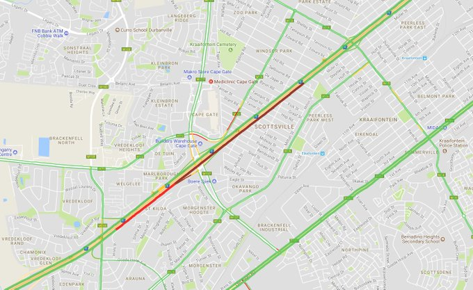 #CPTTraffic Severe delays of 18 minutes and delays increasing on N1 inbound between M15 Brighton Rd and Brackenfell Boulevard. Average speed ten kph. Photo