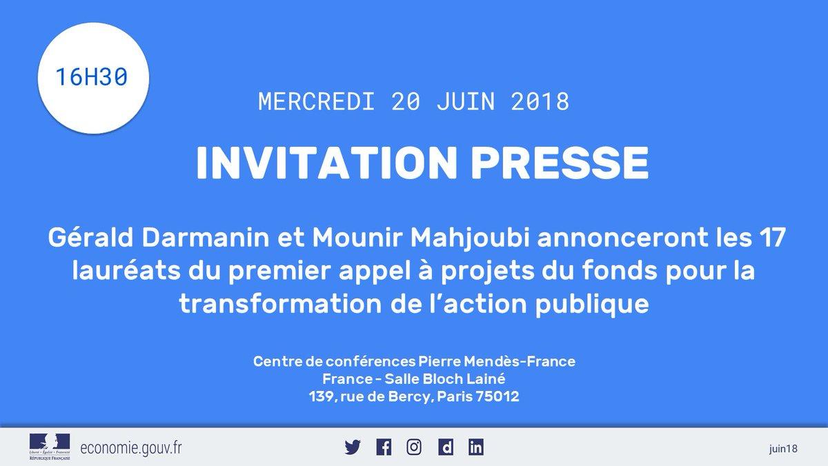 📣 @GDarmanin et @mounir annonceront les 17 lauréats du premier appel à projets du fonds pour la transformation de l'action publique le mercredi 20 juin à Bercy 👉    https://t.co/ToC17geyDE