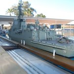 A pier's eye view of the RAN Air Warfare Destroyer HMAS Hobart tied up alongside, highlighting the outstanding detail in this model.