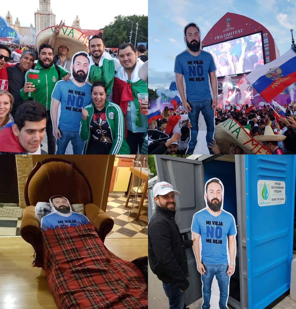 A group of Mexican fans came to Russia with a cardboard photo of their friend whose wife didn't let him go.. 😂