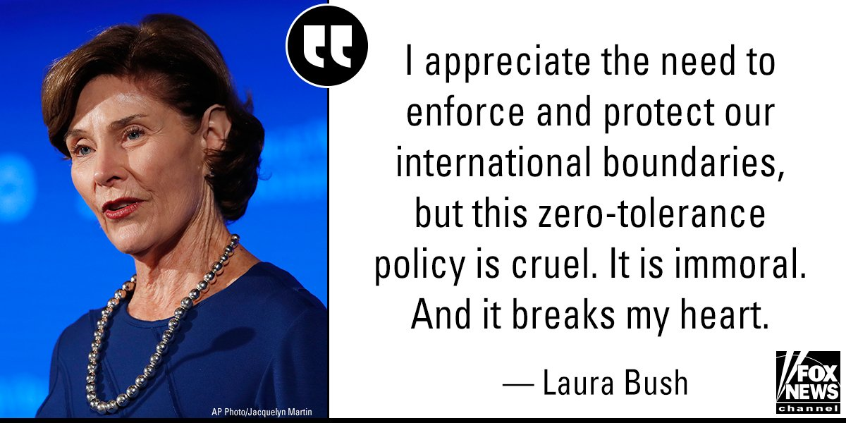 """In an op-ed, former first lady @laurawbush deemed the controversial policy of separating migrant children from their parents at the U.S.-Mexico border as """"cruel"""" and """"immoral."""" https://t.co/8NEBaHZxwH"""