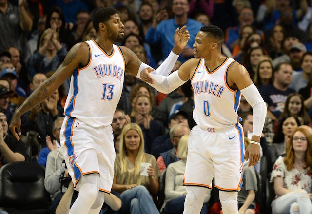 As it turns out, Paul George's relationship with Russell Westbrook might actually lead him *back* to the Thunder. https://t.co/ydyh4UguBv