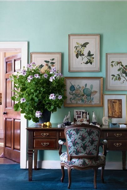 House Garden On Twitter Jade Green Walls And Botanical Paintings At Holker Hall An Unusual Delightful Living Room Scheme Https T Co Ynnj7jc5ku