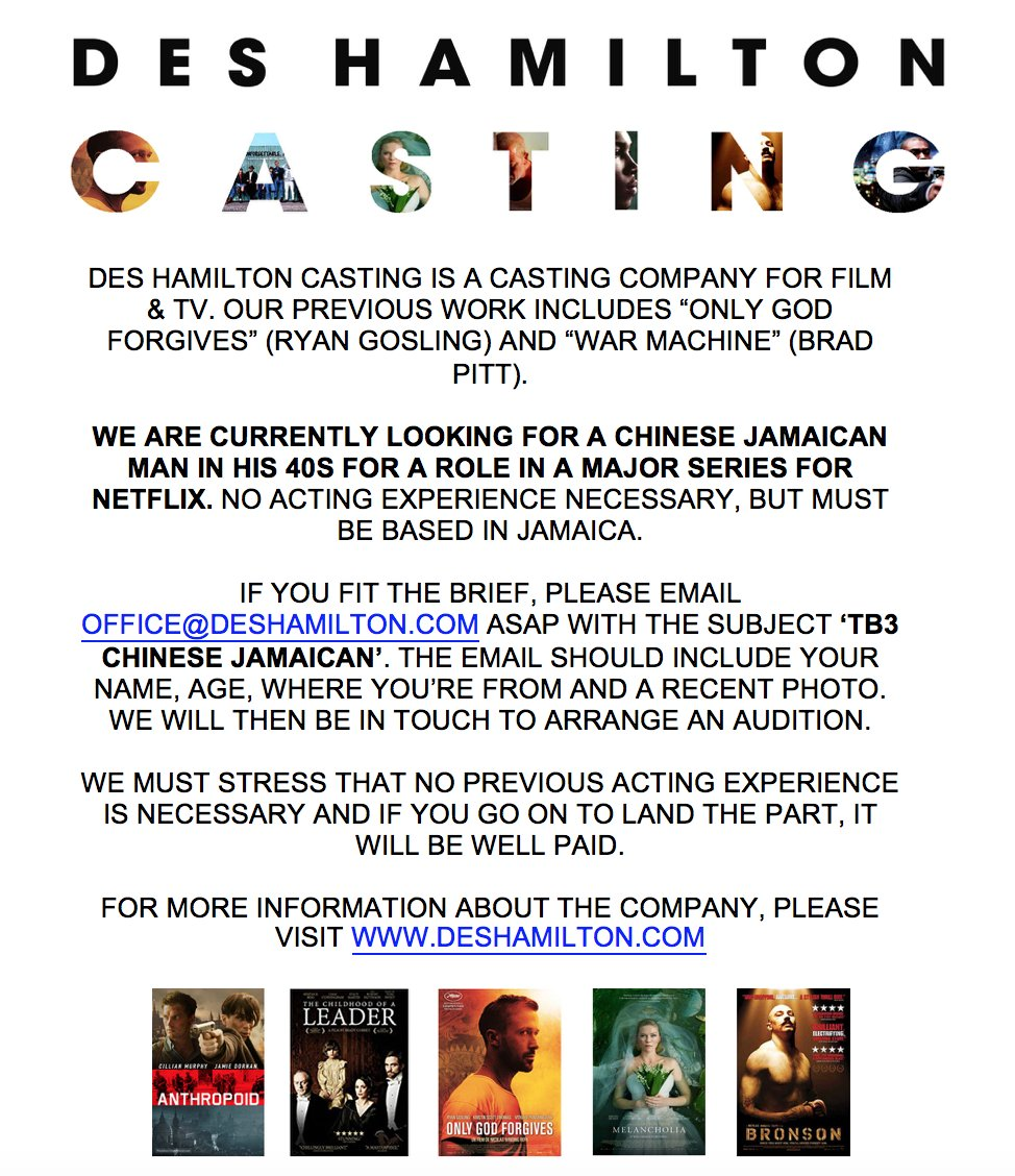 Des Hamilton Casting on Twitter: