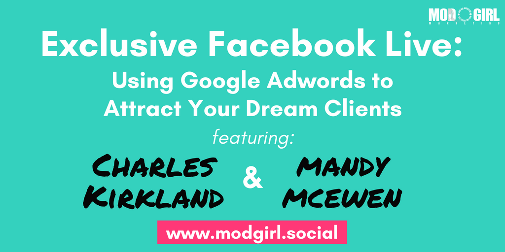 TODAY: Join us for a #Facebook Live where @MandyModGirl & @charleskirkland will be discussing:  ➡️ Using #Google Adwords to Attract Your Dream Clients  Sign up to join our FB group to watch live: https://t.co/4czsYzpdR5