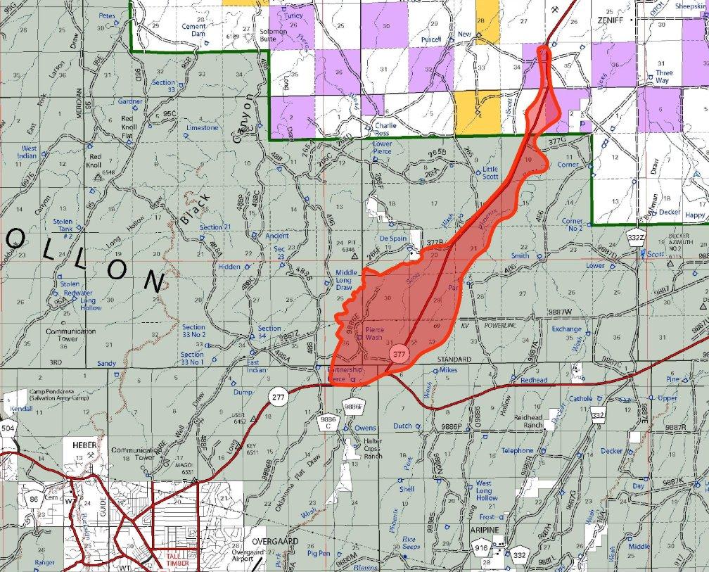 Highway 11 Arizona Map.Arizona Dot On Twitter Fire Closure Sr 377 From Heber To