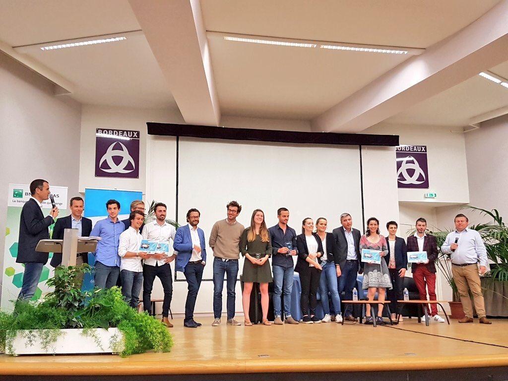Félicitations à la startup @Rhinov_ qui remporte l'édition 2018 du #BxPitch Contest de @Bdx_E et au projet @meditect récompensée dans la Catégorie Étudiante ! Merci à tous les #entrepreneurs de porter haut nos valeurs : #mentorat, #partage, #eco systeme, #talent, #croissance https://t.co/dMGAYDhZca