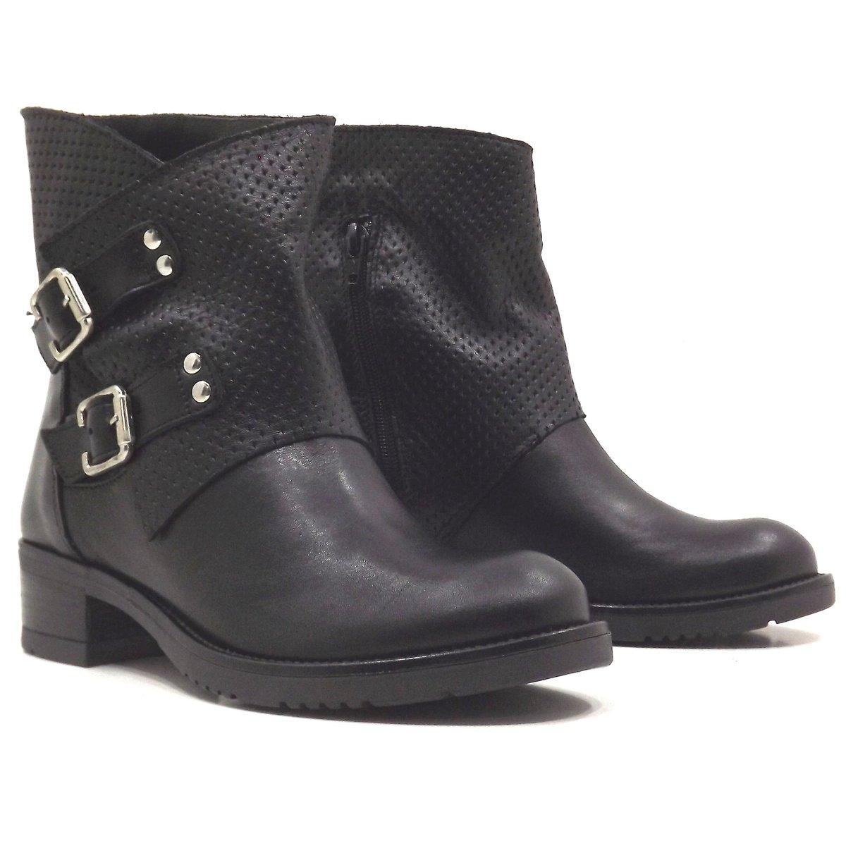 STIVALI STIVALETTI BIKER boots Donna VERA PELLE 37 38 39 40