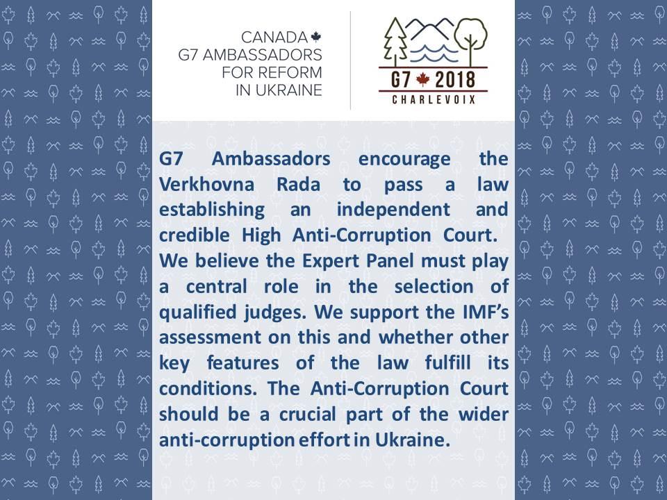 Посли країн G7 закликають Раду проголосувати законопроект про Антикорупційний суд, - заява - Цензор.НЕТ 144