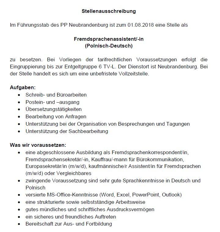 Polizeiprasidium Nb On Twitter Wir Suchen Zum 01 08 2018 Eine N