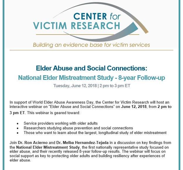 Key Findings From National Longitudinal >> National Center On Elder Abuse On Twitter Victimresearch Webinar