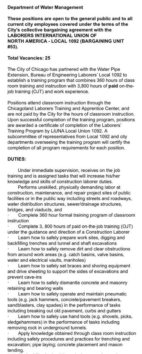 Jeff Johnson On Twitter City Of Chicago Is Hiring 25 Laborer