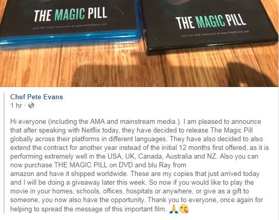 Australian Med Assoc's effort to censor The Magic Pill film by pulling it from Netflix has clearly backfired https://t.co/Z8ZrHP4ie2
